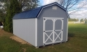 10 x 20 Highwall barn with Cape Cod Gray siding, white trim, and black metal roof in Butler, PA