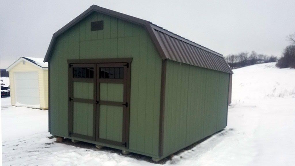 Highwall barn Pequea Green paint with Burnished Slate trim and roof and transom doors & Highwall Barn Storage Sheds - Weaver Barns