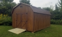 10 x 16 Highwall portable building with Chestnut Stain, Dark Brown Metal, in Cochranton, PA